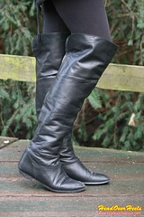 Chloe's leather over knee boots (Street Boots & Leather) Tags: boots leather leathergloves smoking cigarette blonde