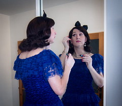 Feeling blue? (blackietv) Tags: blue lace frills dress mirror tgirl transvestite crossdresser crossdressing transgender