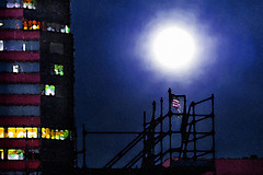 Work'n On The Moon (Dawnsview) Tags: art arizona blue colors citylights city cityscape dawnsview downtown fullmoon night k5 sky landscape lights moon nightsky nightlife outdoors pentax tucson twilight dusk vista view watercolor