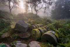 Bolehill Millstones in the Mist (James G Photography) Tags: uploadedviaflickrqcom bolehill mist fog sunrise millstone millstones abandonned trees birchtrees peaks peakdistrict derbyshire bolehillquarry morning overowlertor peak quarry rays sun sunshine surpriseview woodland woods hathersage england unitedkingdom gb