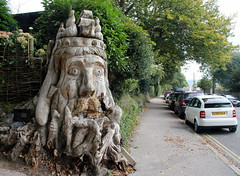 Keeping Head above Water (Time Grabber) Tags: timegrabber cornwall charlestown wood stump treestump carving sculpture neptune img1995a street