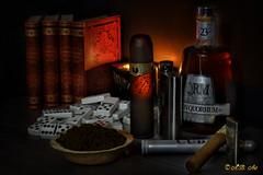 Still life (A.B. Art) Tags: rum zigarre domino bcher buch flasche bottle cigar stilleben stilllife lichtstimmung