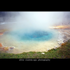 Silex Spring (mariola aga) Tags: hot color water square nationalpark shoreline wideangle steam yellowstonenationalpark change hotspring bacteria deposition lowergeyserbasin thegalaxy silexspring sailsevenseas