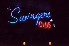 Swingers Club (Nick Leonard) Tags: plaza city pink vegas blue red film beautiful sparkles club 35mm print stars lights hotel neon lasvegas kodak interior nevada nick casino scan 35mmfilm disposablecamera neonsign cursive kodakfilm 800asa swingersclub epson4490 kodakpowerflash kodakdisposable nickleonard