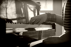 Until the Bitter End (StevenGL) Tags: musician music baby white playing black classic love sepia modern vintage keys photography hand piano ivory grand romance yamaha romantic classical steven lepore ebiny
