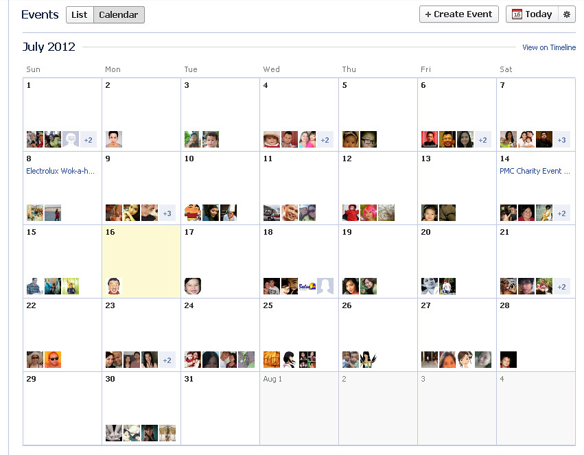 Events Calendar on Facebook