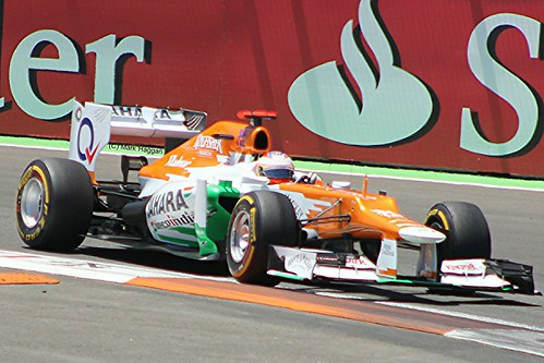 Paul Di Resta in his Force India F1 car during the 2012 European Grand Prix in Valencia