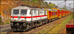 The Double Decker (Raj Kumar (The Rail Enthusiast)) Tags: red 3 west yellow electric canon indian tracks loco double express ac phase railways kolkata bengal raj abb decker kumar howrah dhanbad 30305 wap7 sx30is