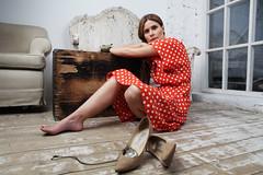 Shoes (Elushha) Tags: red portrait fashion contrast vintage model shoes dress bright retro heels jimmychoo jimmychoos