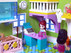 Mia's Pet Shop - The Counter (Oky - Space Ranger) Tags: girls friends summer dog pet fish cute animal shop cat puppy mouse rat kitten lego andrea emma frog mia stephanie supplies