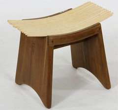 2058. Unusual Mid-Century Teak and Balsa Wood Stool