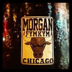 MORGAN (billy craven) Tags: chicago graffiti sticker morgan kym fym handstyles slaptag uploaded:by=instagram