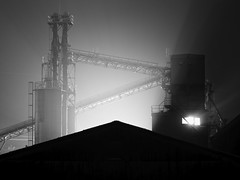 Sumitomo cement factory (StephenCairns) Tags: blackandwhite bw snow japan night industrial factory   gifu    motosu    canon50d 50dcanon industrialnightphotography  motosucity sumitomocement