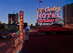 gambling (pbo31) Tags: city summer urban panorama gambling color sign night hotel nikon downtown neon lasvegas nevada over large august panoramic casino neonsign bluehour fremontstreet stitched 2012 elcortezhotelandcasino d700