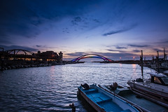 Rainbow Bridge in Yonan  (Sharleen Chao) Tags: ocean bridge sunset sea horizontal canon harbor boat nopeople bluehour  rainbowbridge  ledlights   1635mm  bridgeatnight canoneos5dmarkiii