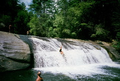 Turtleback (clarkmackey) Tags: waterfall pregnant superia400 turtleback wnc olympusxa4 nancimackey horsepatureriver