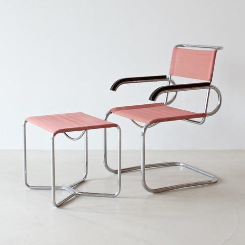 B 55 cantilever chair and B 8 stool by Marcel Breuer for Thonet
