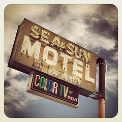 Sea & Sun Motel (TooMuchFire) Tags: signs clouds vintage square neon squareformat saltonsea neonsigns motels oldsigns vintagesigns earlybird vintageneonsigns colortv oldmotels desertshores oldneonsigns seasunmotel iphoneography instagramapp uploaded:by=instagram seaandsunmotel 79desertshoresdrdesertshoresca