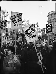 London CND March 1982 (Pictures from the Ghost Garden) Tags: blackandwhite bw film monochrome blackwhite peace protest documentary cnd blancetnoir weissundschwarz
