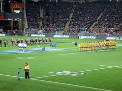 Bledisloe Cup, New Zealand Vs Australia, Eden Park (russelljsmith) Tags: newzealand man standing rugby edenpark australia auckland jacket cap allblacks 2012 bledisloecup 77285mm