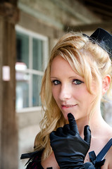 Tiny little black hat (sbrian28 (Silvertouch Photography)) Tags: woman black cute girl beautiful model nikon pretty indiana gloves tophat blonde western saloon smalltown tierney bitelip bitinglip d7000 sigma1755