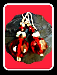 Earrings Red chrystal ball pierced.jpg (PAMS TOUCH ART JEWELRY DESIGNS) Tags: picmonkey red hot jewelry by pams touch art jewerly