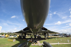 Underneath a Vulcan Bomber (simonannable) Tags: castledonington nikond750 nikonphotographers vulcan bomber raf aircraft military display imposing massive plane jet engines east midland aero park staic obsolete old aged out dated moded vintage huge hull body vulcanbombers xm575
