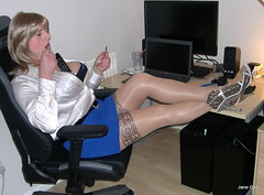 14 Call girl (janegeetgirl2) Tags: transvestite crossdresser crossdressing tgirl tv ts heels sheer shine patterned tights office blue pa blouse secretary satin mini short skirt stilettos high jane gee