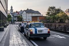 Taxi (kmmanaka) Tags: japan nagasaki evening settingsun bicycle tram
