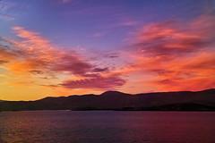 Sailing into Tarbert (Fr Paul Hackett) Tags: sunset clouds sky sea island
