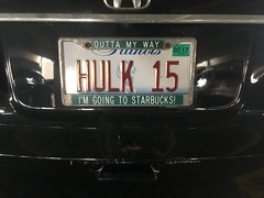 hulk 15 (timp37) Tags: im going starbucks illinois license plate hulk 15 hyatt regency parking garage rosemont wizard world chicago comic con august 2016 coffee