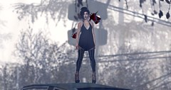 High above the MuckyMuck (Cassandra Middles) Tags: secondlife fantasy collective c88 collabor88 tres chic truth lazybones addams empire heels leggings tank top bra ironwood hills veechi tights eyeliner new releases events ending soon out now sale dark goth sl second life