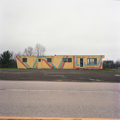 (patrickjoust) Tags: pennsylvania mamiyac330s sekor80mmf28 kodakportra400 6x6 medium format 120 c41 color negative film manual focus analog mechanical patrick joust patrickjoust usa us united states north america estados unidos autaut mobile home yellow house stripe cloudy overcast