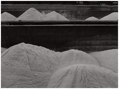 Cement industry — Floating world (michelle@c) Tags: urban manmade landscape industrialaera abstraction industry cement piles sand barges quays seine paris bichrome michellecourteau