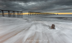 Distant (Steven Peachey) Tags: sunset sky clouds seascape exposure manual canon sea coast beach backwash hartlepool steetley pier steetleypier northeastengland northeastcoast ef1740mmf4l canon6d stevenpeachey lightroom5 leefilters lee09gnd lee06gnd uk england