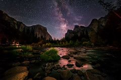 Cosmic Valley (Godspeed70) Tags: yosemite yosemitevalley nightscape milkyway mountain star sky nightshot landscape california forest trees rocks river reflection
