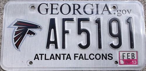 Atlanta Falcons License Plate (Georgia) Football NFL