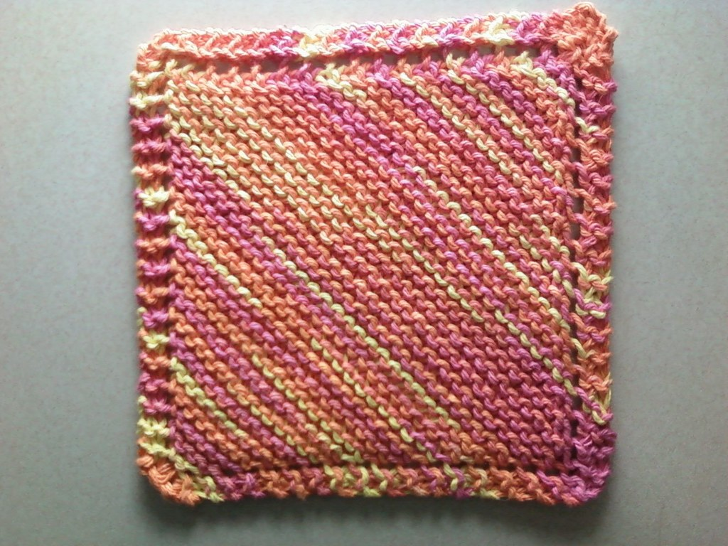 Funky Free Diagonal Knit Dishcloth Pattern Image Collection ...