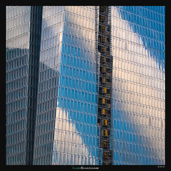 Sky on Sarona (Ilan Shacham) Tags: abstract architecture windows reflection clouds sky geometry fineart fineartphotography telaviv israel sarona azrieli underconstruction construction texture pattern window elevator minimalism square tower contemporary