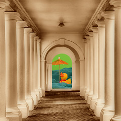 Stay Cool (njk1951) Tags: summer sepia swim umbrella duck squareformat hdr portico babyduck summerheat