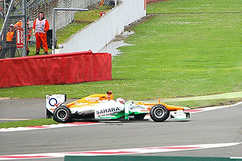 Force India's Paul Di Resta Spins at Silverstone