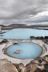 Geothermal Springs II (laverrue) Tags: blue hot nature water pool horizontal iceland spring europe turquoise lagoon countries springs baths heat nordic geology scandinavia spa geothermal sauna myvatn sland vi icelandic mvatn jarbin jardbadsholar lveldi
