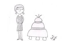 Hello, Chumbley! (sami k (the k stands for potassium!)) Tags: blackandwhite cute illustration robot doctorwho scifi vicki whimsical chumbley classicwho vickipallister
