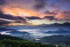 (Yaoo Sheng Ming) Tags: light cloud mist mountain tree green yellow fog night sunrise long exposure taiwan    sunmoonlake seaofclouds nantou