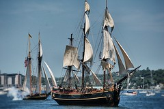 Farewell (halifaxlight) Tags: blue canada leaving novascotia sunny halifax tallships prideofbaltimoreii firing cannons sailships hmsbounty nikonflickraward tallships2012