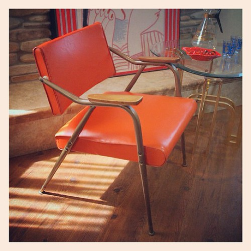 Vintage Mcm Chair Mid Century Modern Bright Orange Knoll Style