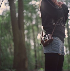 Camera/Girl (Rick Nunn) Tags: wedding tree leather hair woods fuji kodak bokeh rick tights 400 strap denim shorts pentacon six nunn preparations xtra