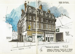Clermont-Ferrand, maison de la presse (Luis_Ruiz) Tags: france building stone architecture sketch drawing pierre sketchbook dibujo auvergne volvic clermontferrand