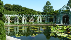 The Pergola Reflected in the Lily Pool (justmecpb) Tags: ny waterlily longisland walledgarden pergola goldcoast oldwestburygardens oldwestbury