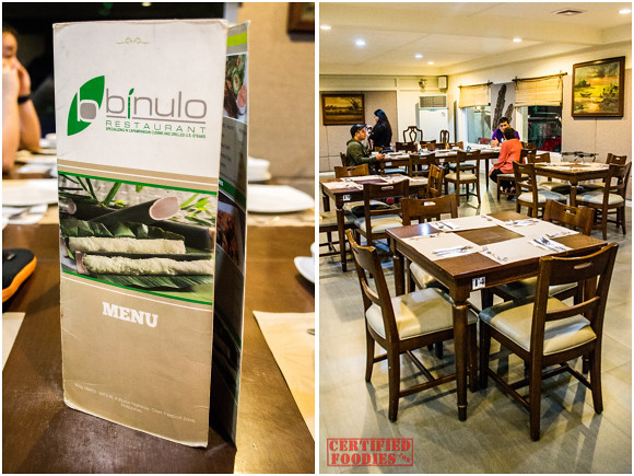 Binulo Restaurant menu and interiors